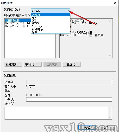 会声会影x10项目属性项目格式